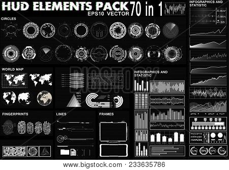 Hud Elements Pack. 70 Elements. Sci Fi Futuristic User Interface. Menu Button. Vector Illustration,