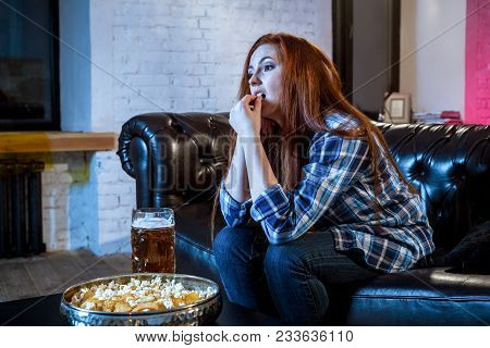 Young Emotional Attractive Woman Alone At Home Sofa Couch Watching Excited Television Football Sport