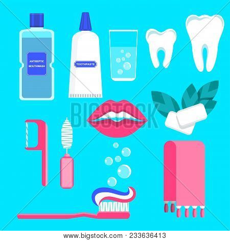 Set Of Oral Care Products. Toothpaste, Toothbrush And Lotion, Dental Floss, Chewing Gum. Flat Vector
