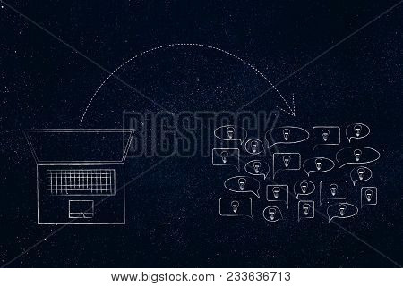 Online Knowledge Sharing Conceptual Illustration: Laptop With Arrow Out And Group Of Speech Bubbles