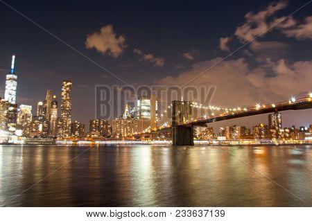 Brooklyn Bridge At Night From River View