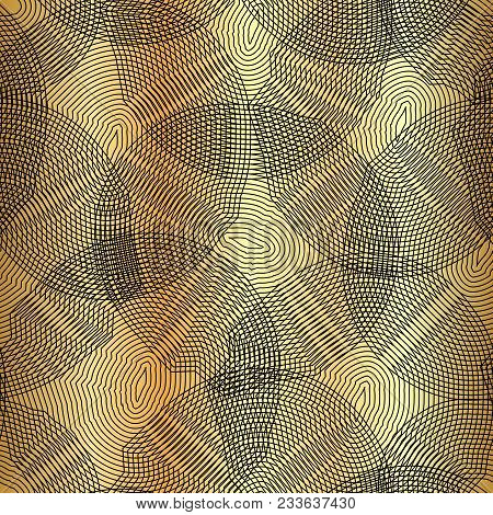 Vector Monochrome Seamless Pattern, Curved Lines, Black Gold Background. Abstract Dynamical Rippled