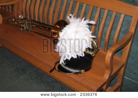 Trombone And  White Plumed Marching Hat