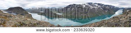 Norway Landscape In Jotunheimen National Park. Besseggen Mountain Ridge Trail Between Two Lakes (gje