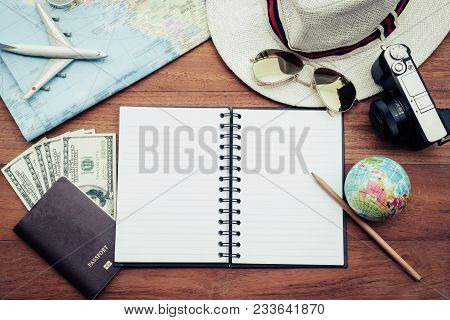 Travel Plan, Trip Vacation, Tourism Mockup - Outfit Of Traveler:travel Accessories Set On Wooden Bac