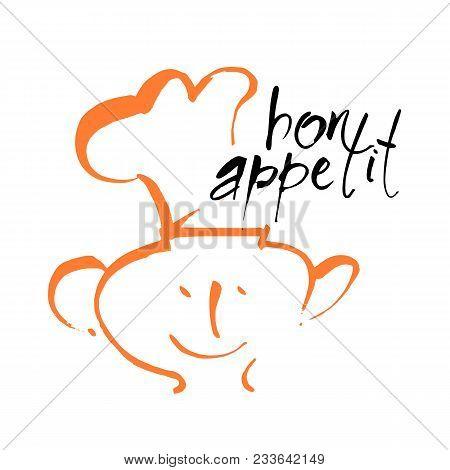 Bon Appetit Lettering. Vector Design Template Logo.
