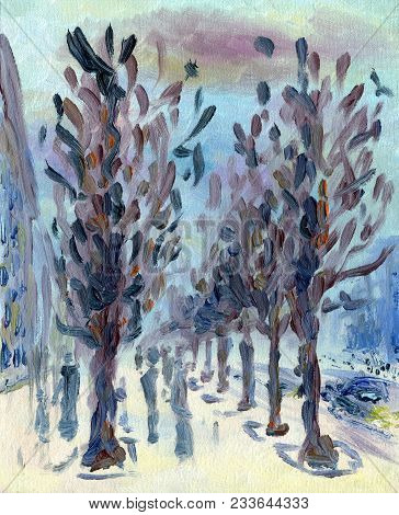 Spring Is On A City Street. Europe. Oil Painting On Canvas. Alley With Trees. People Walk On The Wet