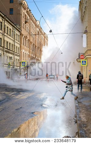 Saint-petersburg.russia.march.28.2018.there Was A Breakthrough Of A Heating Main With Hot Water.the
