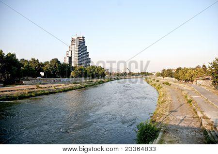 the Vardar River in cetner of skopje  FYROM(Macedonia poster