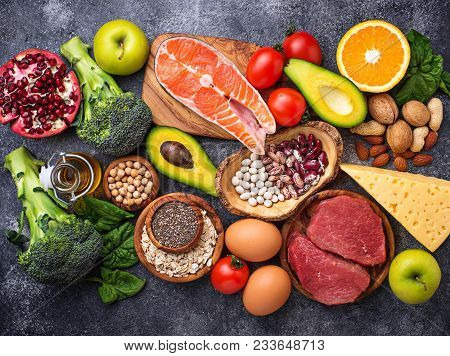 Organic Food For Healthy Nutrition And Superfoods. Balanced Diet. Top View
