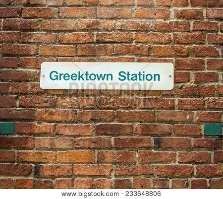 Greektown People Mover Station. Greektown Station Sign At The People Mover Station In Detroit. Greek