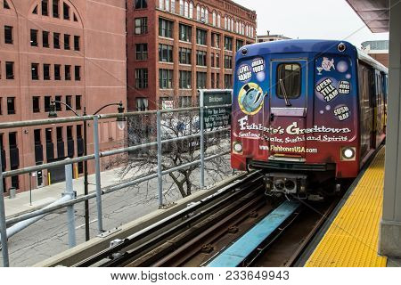 Detroit, Michigan, Usa - March 28, 2018: The Detroit People Mover Public Transit System Enters The B