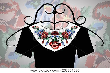 Female Black Dress On Hanger. White Collar. Color Bouquet Of Wildflowers (lilia, Roses). Embroidery.