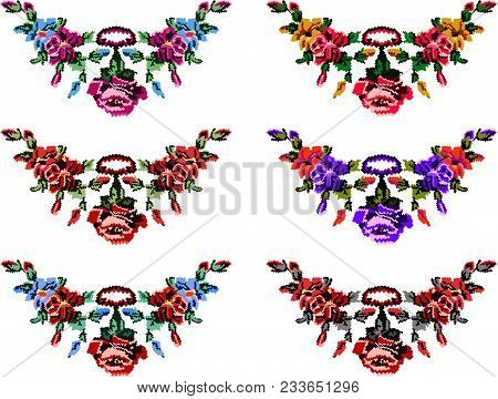 Set Of Colorful Female Collars. Bouquet Of Wildflowers (lilia, Roses). Embroidery. Pixel Art.