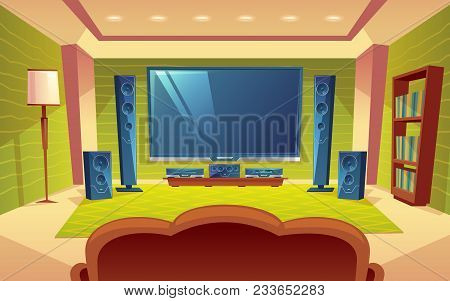 Vector Cartoon Home Theater, Audio Video System With Remote Control Inside The Hall. Plasma Monitor