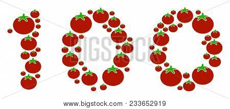 100 Text Mosaic Of Tomato In Various Sizes. Vector Tomatoes Elements Are United Into 100 Text Illust