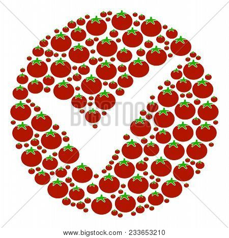 Apply Collage Of Tomato In Various Sizes. Vector Tomato Elements Are Combined Into Apply Illustratio
