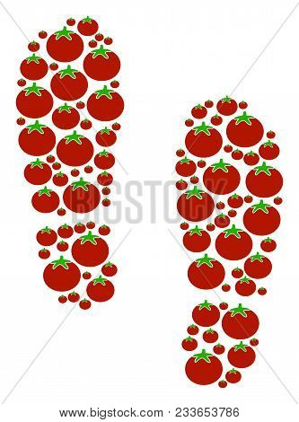 Boot Footprints Collage Of Tomatoes In Different Sizes. Vector Tomato Vegetable Items Are Composed I