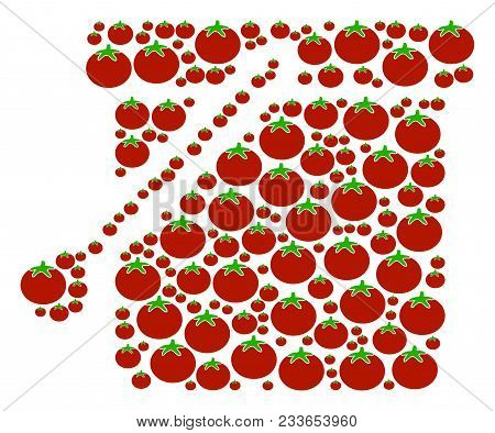 Bucket Mosaic Of Tomato Vegetables In Various Sizes. Vector Tomato Symbols Are Grouped Into Bucket S
