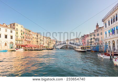 View Of Famouse Rialto Bridge At Summer Day, Venice, Italy