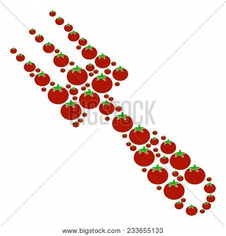 Cultivator Rake Composition Of Tomatoes In Different Sizes. Vector Tomatoes Elements Are Composed In