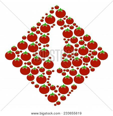 Error Mosaic Of Tomato In Different Sizes. Vector Tomato Symbols Are Combined Into Error Composition