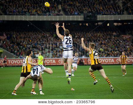 MELBOURNE - SEPTEMBER 9 : Tom Hawkins(C) leaps for a mark during Geelong's win over Hawthorn - September 9, 2011 in Melbourne, Australia.