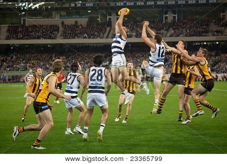 MELBOURNE - SEPTEMBER 9 :James Podsiardly takes a strong mark in Geelong's win over Hawthorn - September 9, 2011 in Melbourne, Australia.
