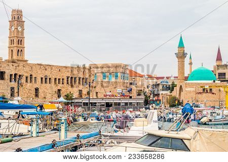 Acre, Israel - November 2016: View On Marina With Yachts And Ancient Walls Of Harbor In Acre, Israel