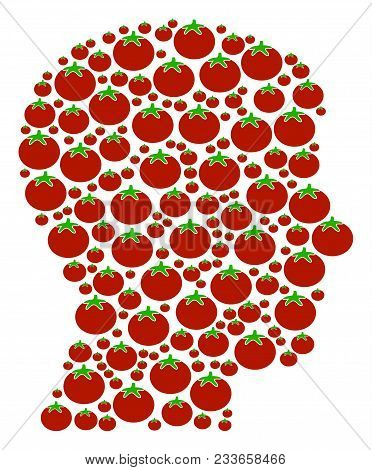 Man Head Profile Composition Of Tomatoes In Various Sizes. Vector Tomato Vegetable Elements Are Comb