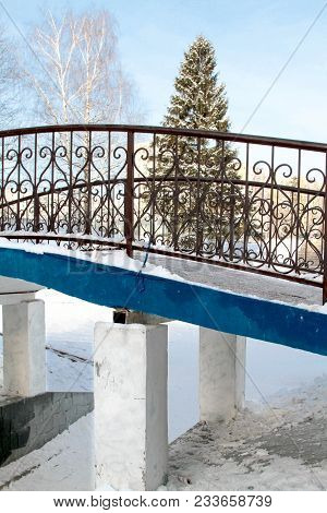 Winter Landscape With Blue Bridge, Spruce And Birch