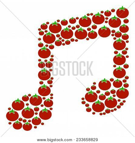 Music Notes Mosaic Of Tomato Vegetables In Different Sizes. Vector Tomato Vegetable Elements Are Uni