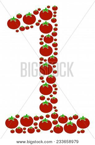 One Digit Mosaic Of Tomatoes In Variable Sizes. Vector Tomato Symbols Are Combined Into One Digit Co