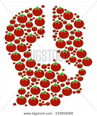 Operator Composition Of Tomato In Different Sizes. Vector Tomato Vegetable Symbols Are Composed Into
