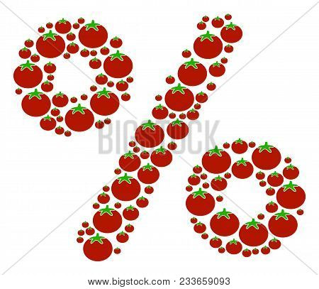 Percent Collage Of Tomato In Various Sizes. Vector Tomato Items Are Composed Into Percent Collage. S