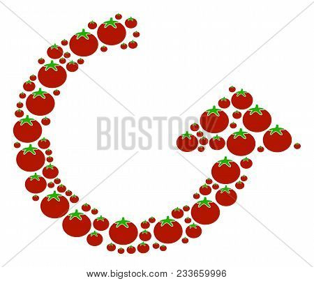 Rotate Mosaic Of Tomatoes In Various Sizes. Vector Tomato Vegetable Items Are Organized Into Rotate