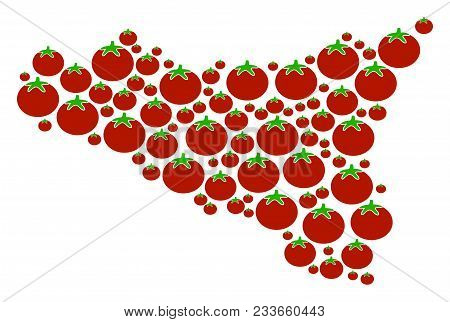 Sicilia Map Mosaic Of Tomatoes In Different Sizes. Vector Tomato Vegetable Items Are Composed Into S