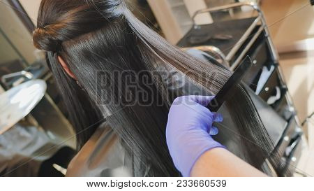 Hair Care In The Beauty Salon, Hair Treatment And Straightening