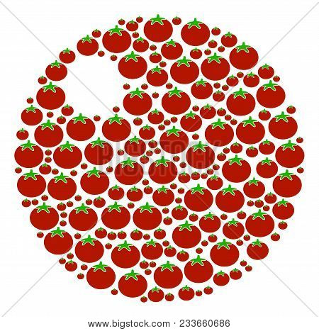 Sphere Collage Of Tomatoes In Variable Sizes. Vector Tomato Vegetable Symbols Are Combined Into Sphe
