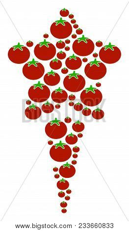 Starting Star Collage Of Tomatoes In Different Sizes. Vector Tomatoes Symbols Are Grouped Into Start