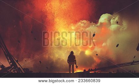 Brave Firefighter With Axe Standing In Front Of Frightening Explosion, Digital Art Style, Illustrati