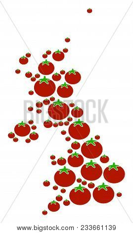 United Kingdom Map Collage Of Tomato Vegetables In Variable Sizes. Vector Tomato Vegetable Items Are