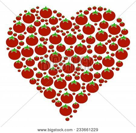 Valentine Heart Collage Of Tomato In Various Sizes. Vector Tomatoes Symbols Are Organized Into Valen