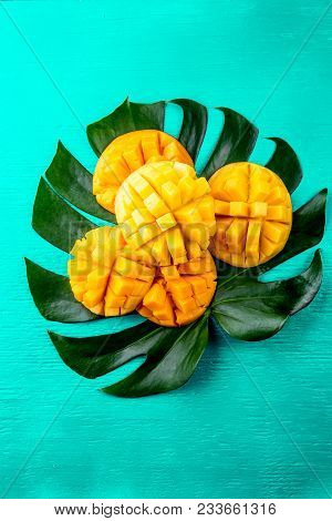 Creative Layout Made Of Summer Tropical Fruits Mango And Tropical Leaves On Turquoise Background. Fl