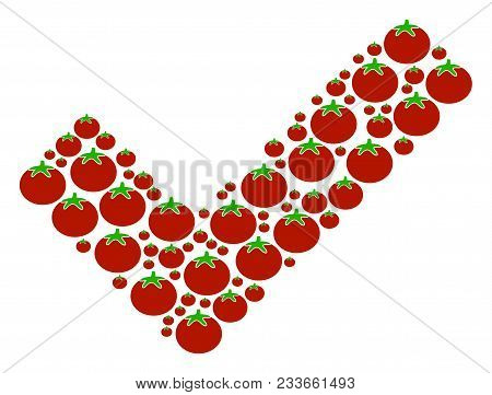 Yes Mosaic Of Tomatoes In Different Sizes. Vector Tomatoes Symbols Are Composed Into Yes Figure. Hea