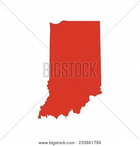 State Of Indiana Vector Map Silhouette. In State Shape Icon. Outline Contour Map Of State Of Indiana