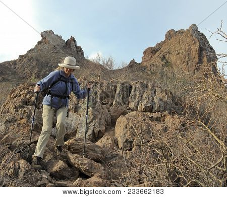San Carlos, Mexico, March 14. The Tetakawi Trail On March 14, 2018, Near San Carlos, Mexico. A Woman