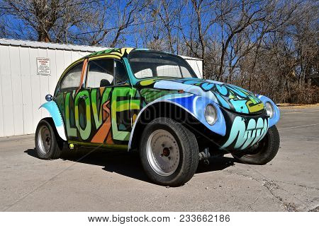 Jerome, Arizona,  January, 30, 2018:  The 1960`s Old  Love Bug Car Is A Product Of Volkswagen Group,