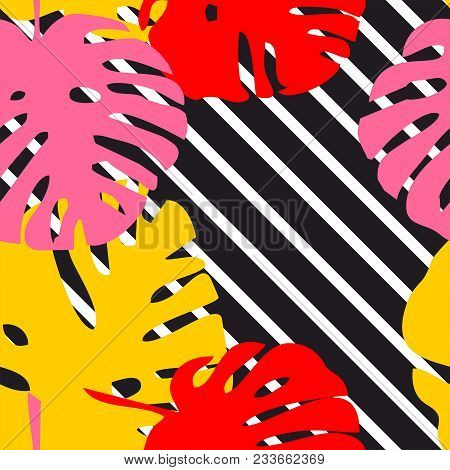 Tile Tropical Vector Pattern With Exotic Leaves And White Stripes Background