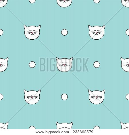 Tile Vector Pattern With Cats And Polka Dots On Mint Green Background Wallpaper